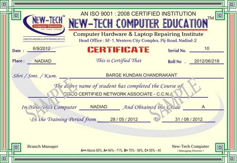 Certificate Sample Of Computer Education   Studychacha
