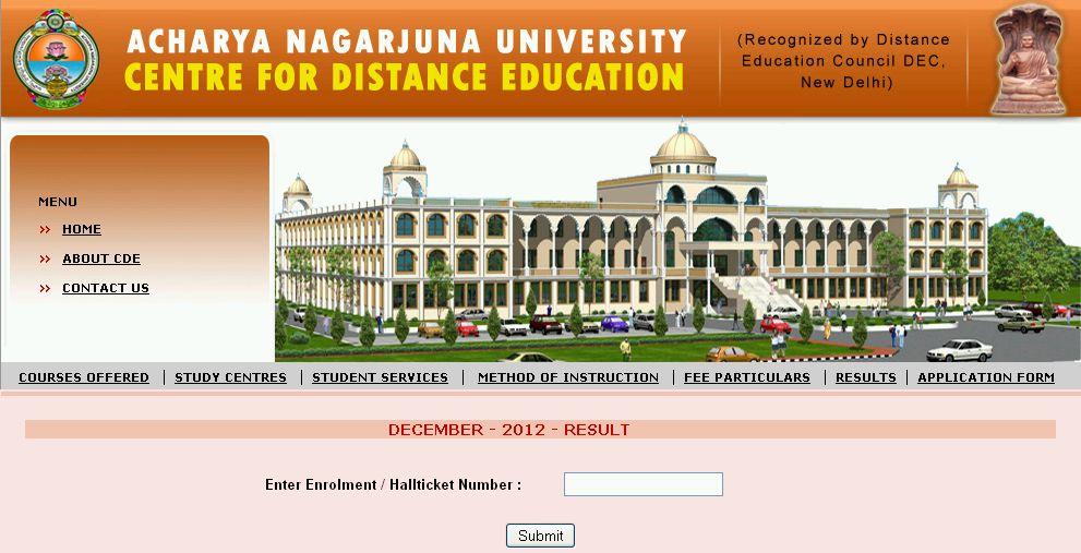 Nagarjuna university pg results distance education