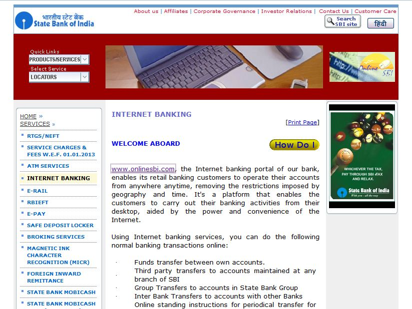 sbh internet banking application form download pdf