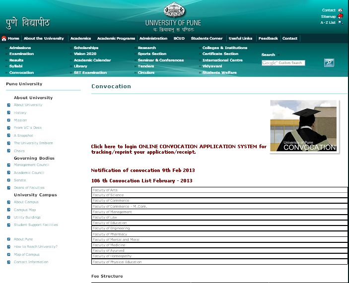 , there is a link on the middle for Online Convocation Application