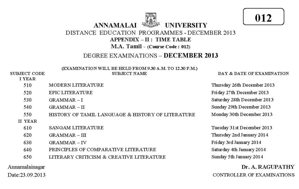 Annamalai University Study Centres in India