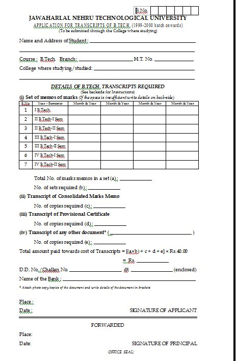 jntu hyderabad transcripts application form