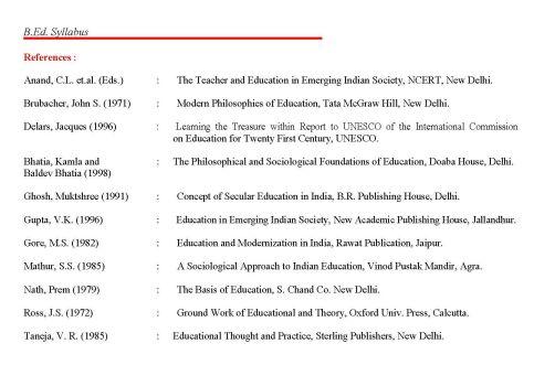 Syllabus of b ed from jammu university syllabus