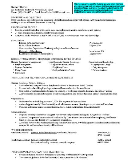 college student finance resume