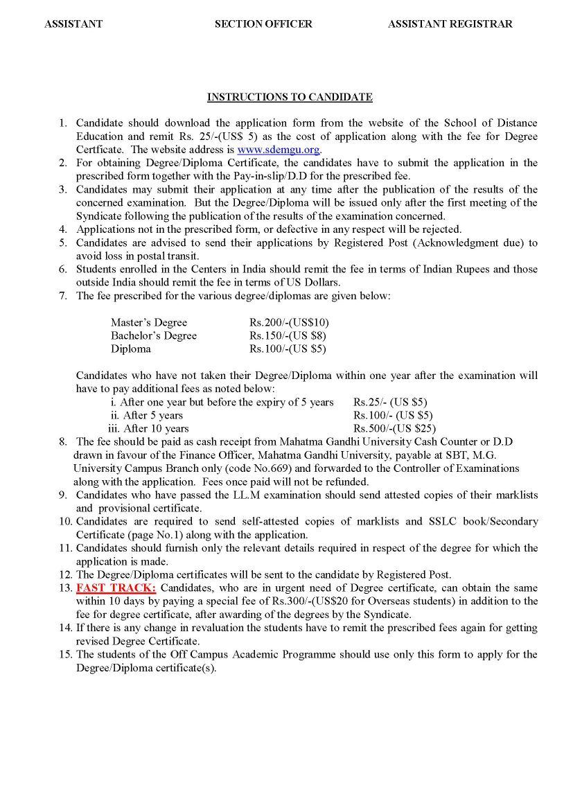 MG-university-PG-certificate-application-form-2 Pport Application Form Fill Up Block Letter on