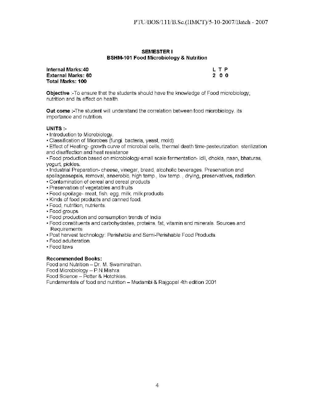 PTU B Sc  Hotel Management syllabus - 2018-2019 StudyChaCha