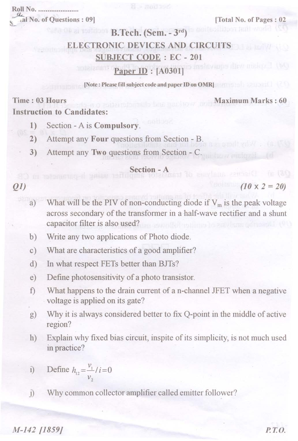 Ptu Previous Year Question Papers B Tech ECE - 2018-2019 ...