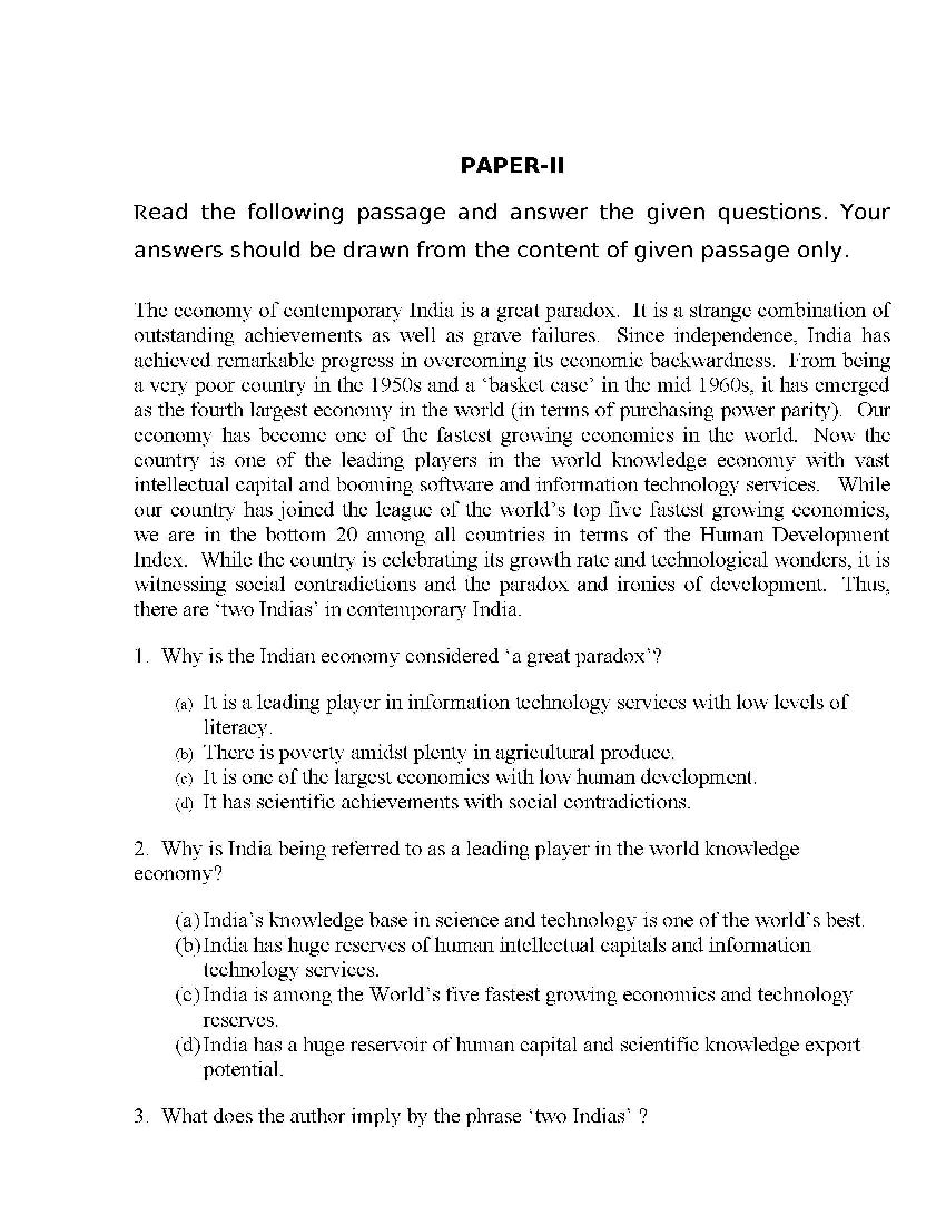 Question Paper For Civil Service Exam 2012 Pictures