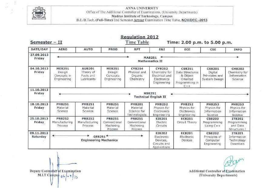 Anna university time table oct nov complete pdf library for 6th sem time table