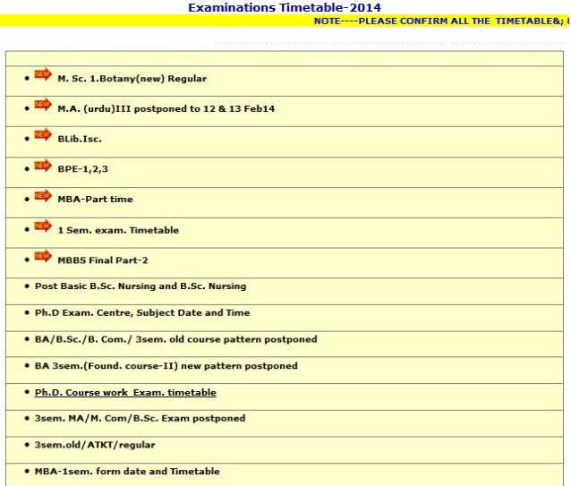 At this page click on the notification for which you are for 5th sem time table 2014