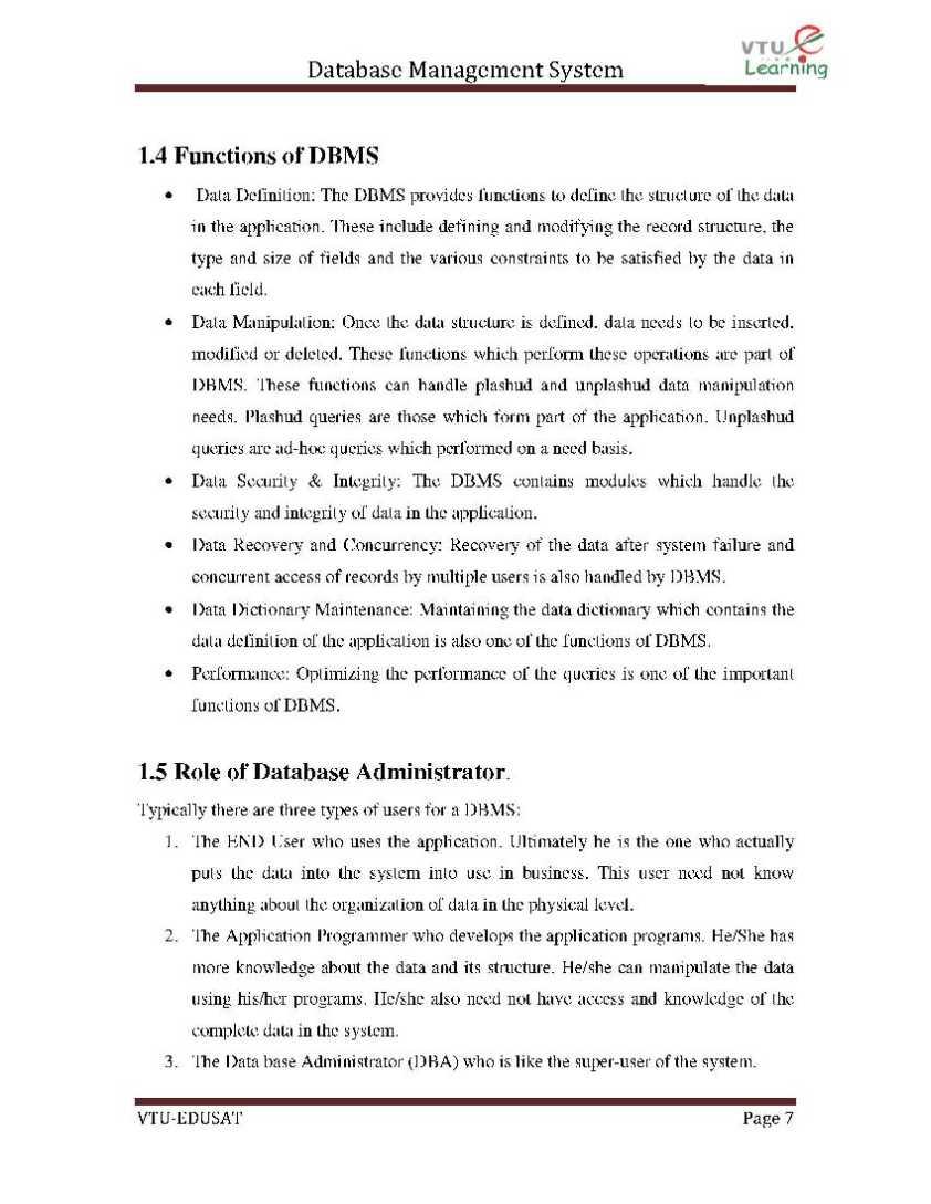 DBMS VTU Notes Download - 2018-2019 StudyChaCha