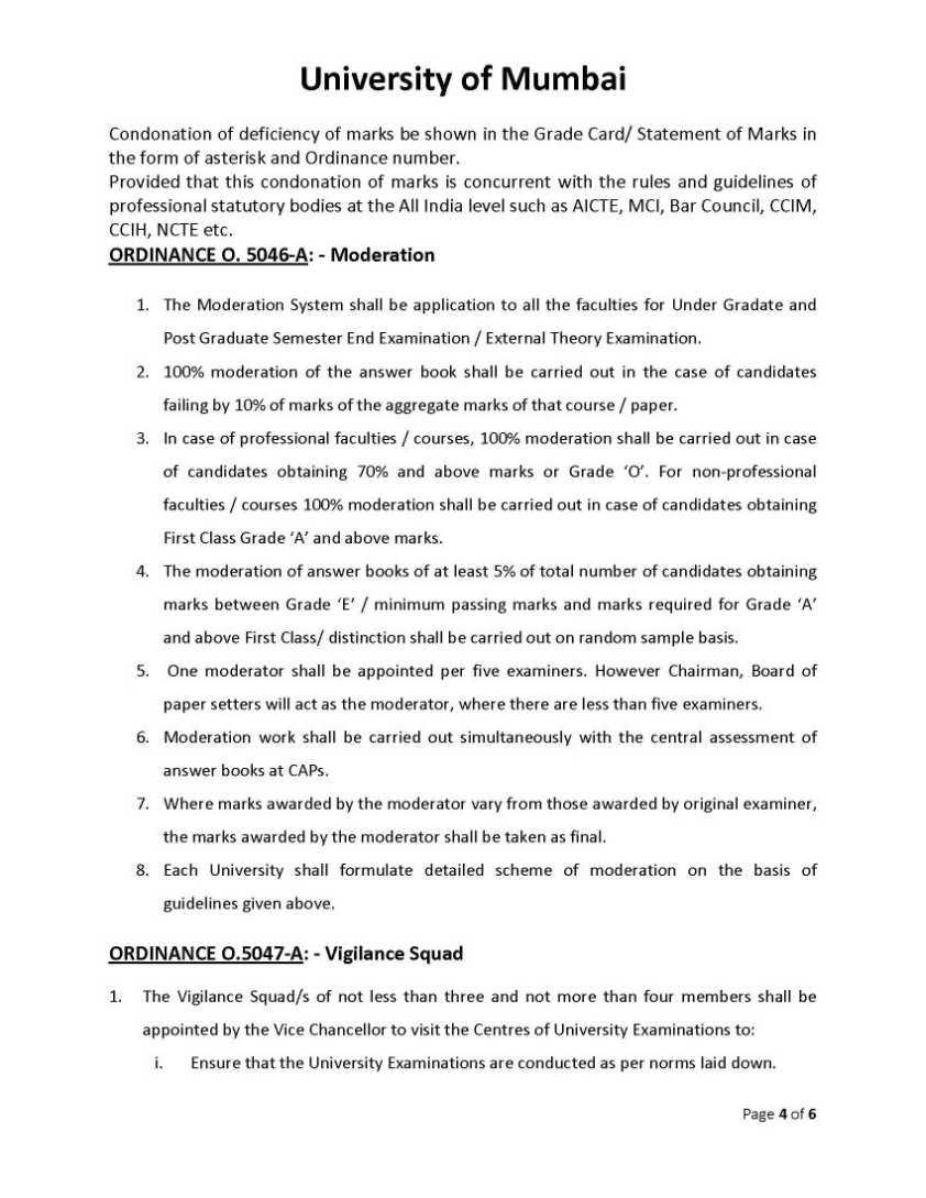 Mumbai University Grace Marks Rules - 2018-2019 StudyChaCha