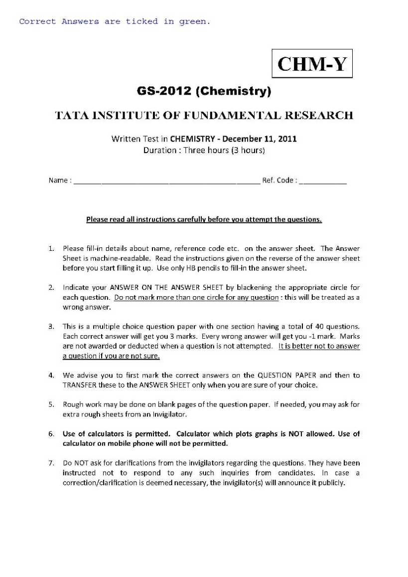 TIFR Chemistry Question Papers - 2018-2019 StudyChaCha