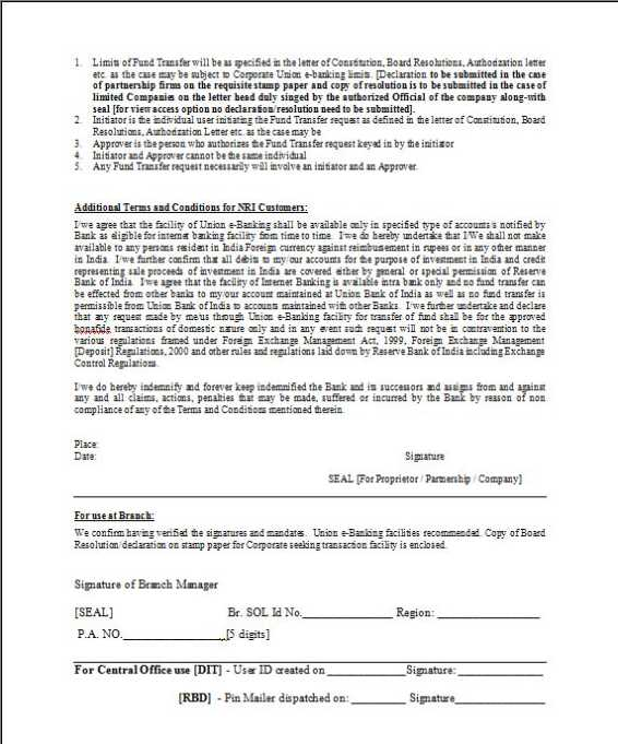 application form for internet banking of corporation bank