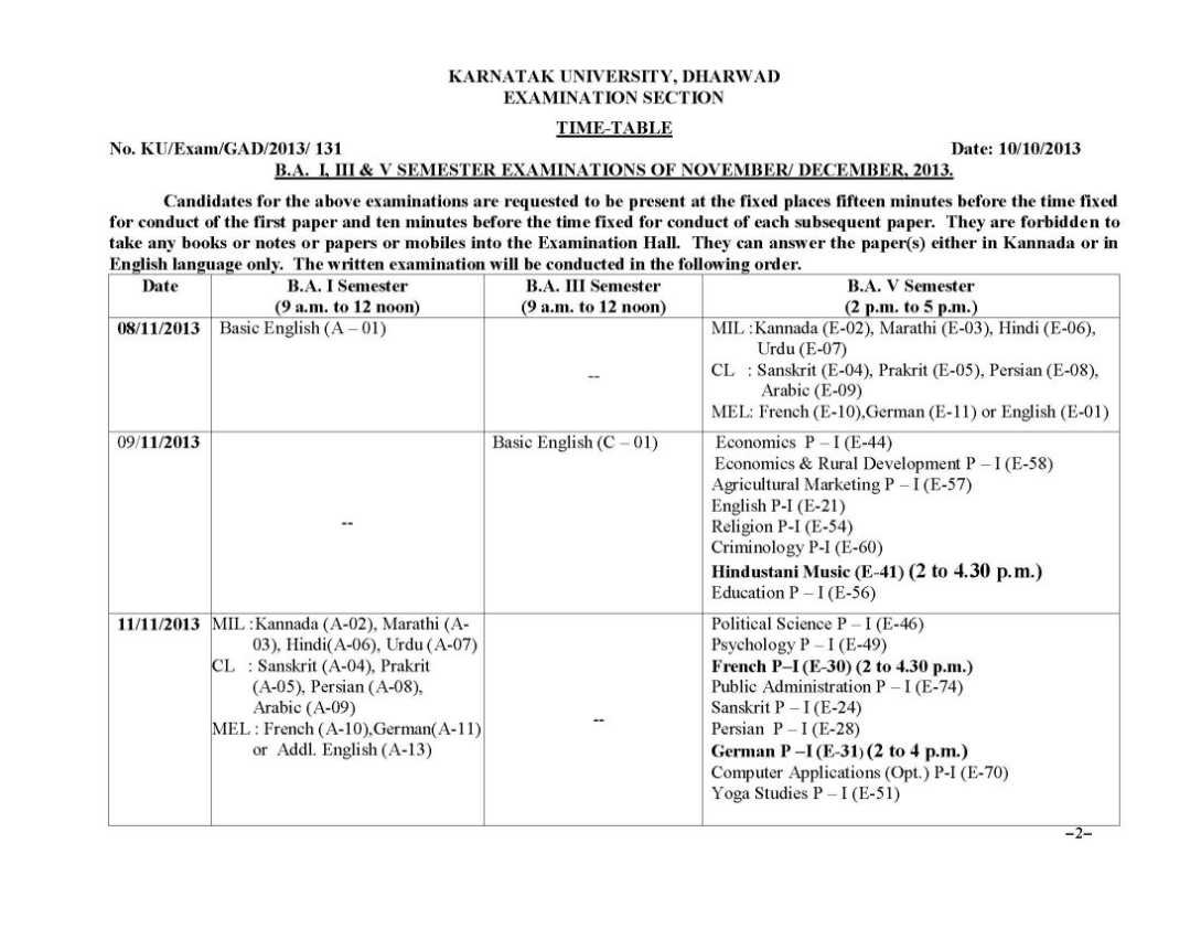 Dharwad university ba time table 2018 2019 studychacha for 5th sem time table 2014