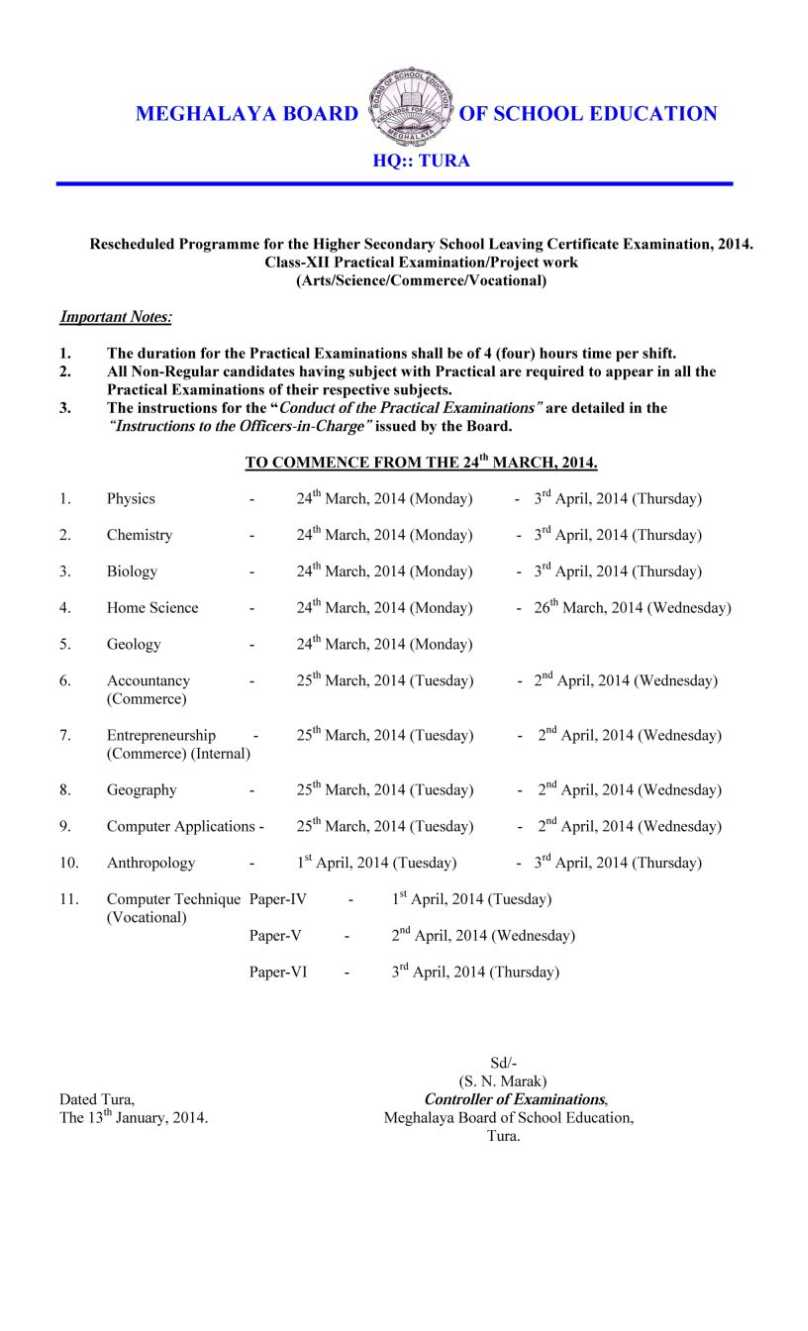 mbose exam timetable studychacha meghalaya board of school education 12th class exam time table