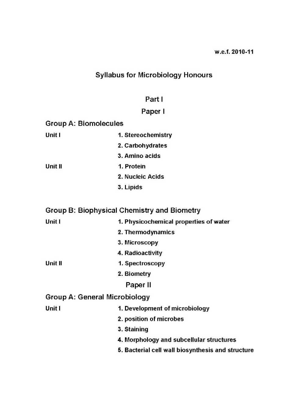 Microbiology subjects at university