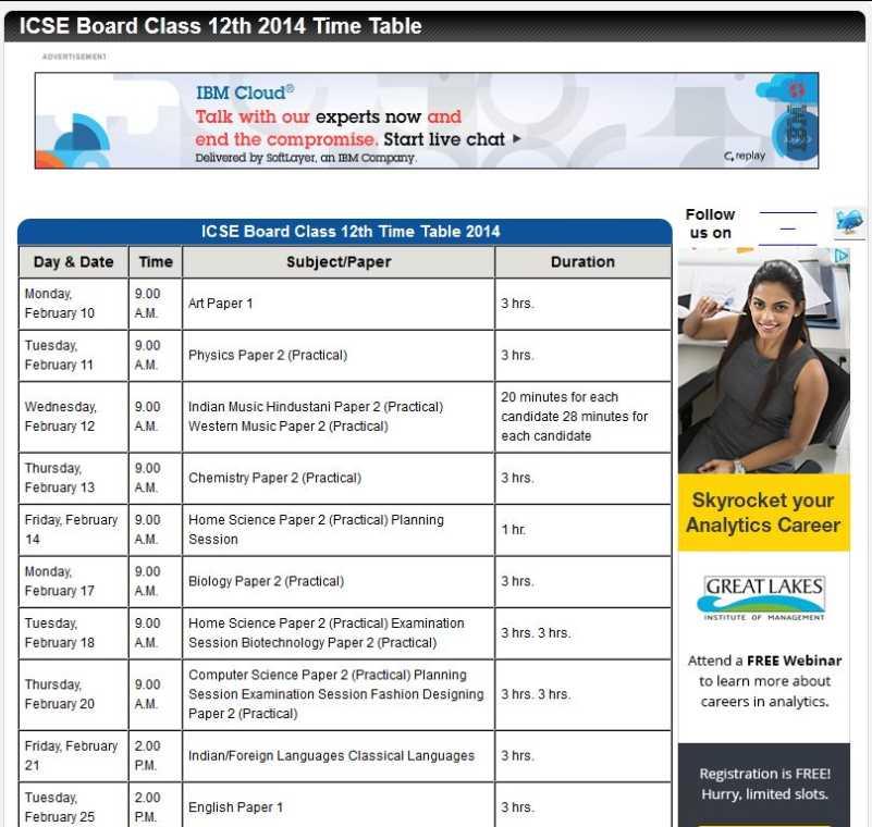 Time table 2016 pdf icse