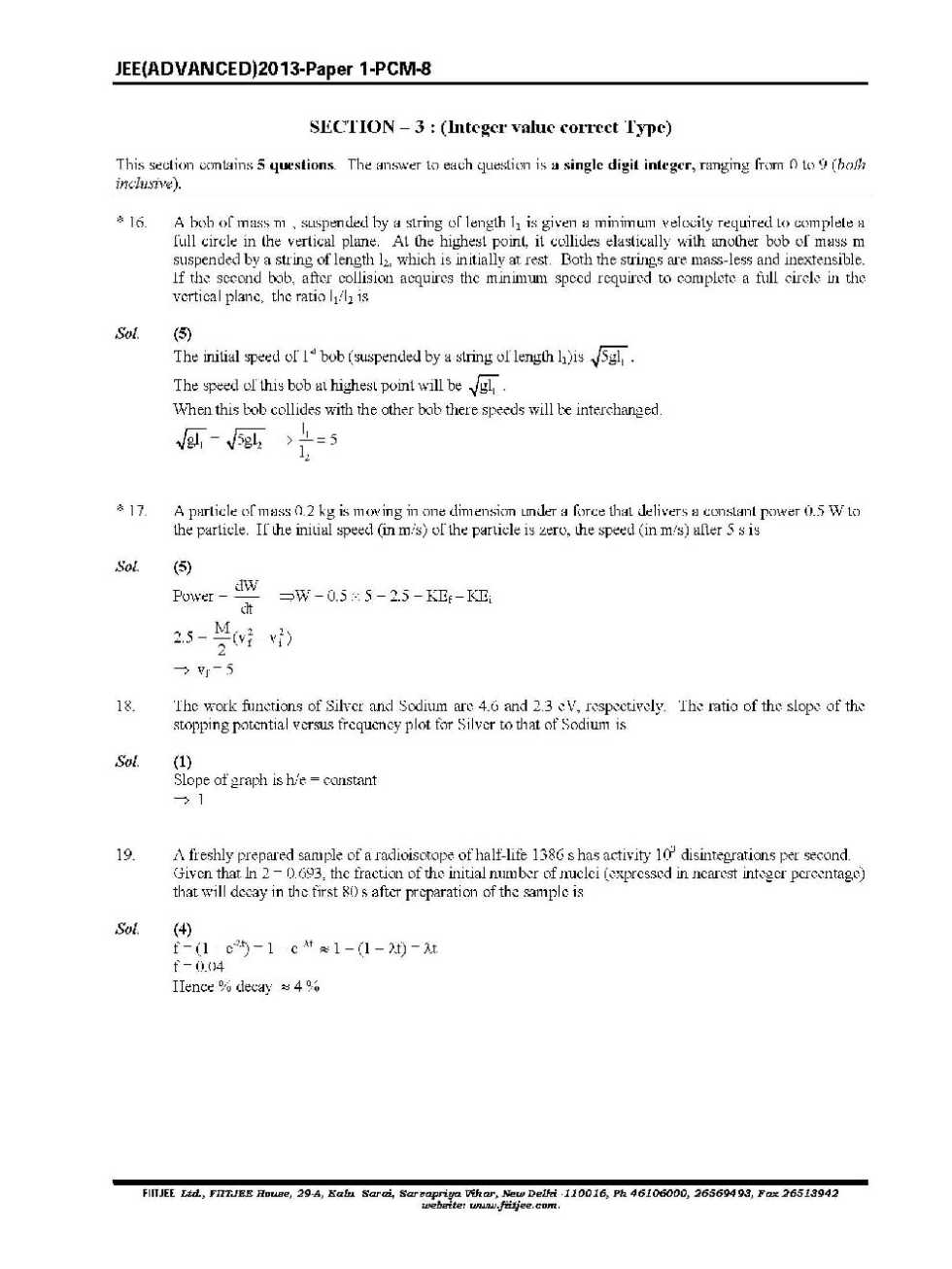 iit jee 2000 question paper with solutions pdf