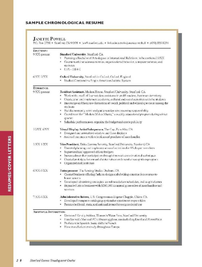 Stanford business school resume sample
