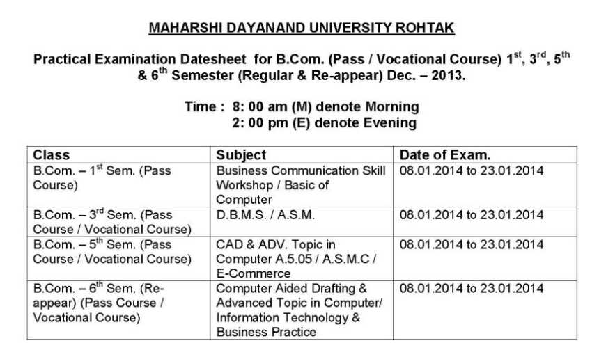 2018 2019 studychacha reply to topic mdu rohtak exam for 5th sem time table 2014
