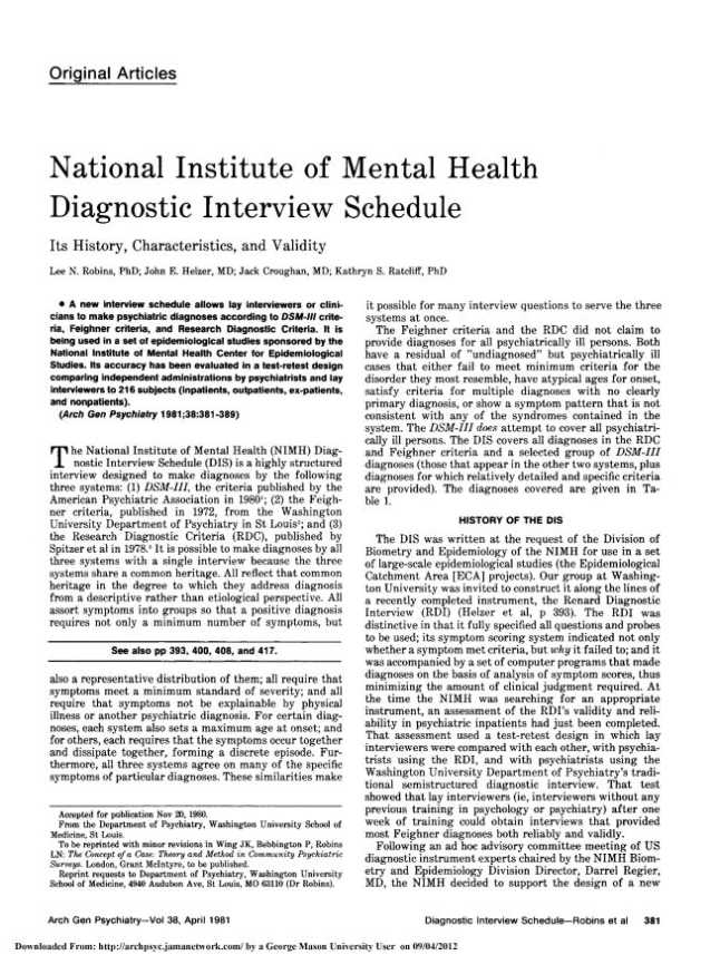 an introduction to the national institute of mental health Citations introduction govindaraj periyasamy currently works at the department  of neuropathology, national institute of mental health and neuro sciences.