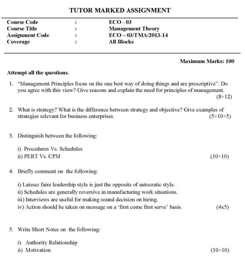 assignment papers of ignou