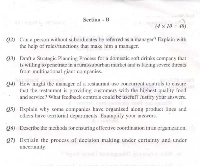 ba9226 applied operations research for management question paper