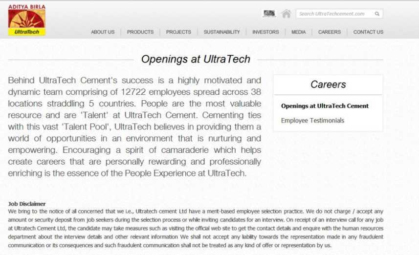 Ultratech Cement Career : Ultra tech cement recruitment studychacha