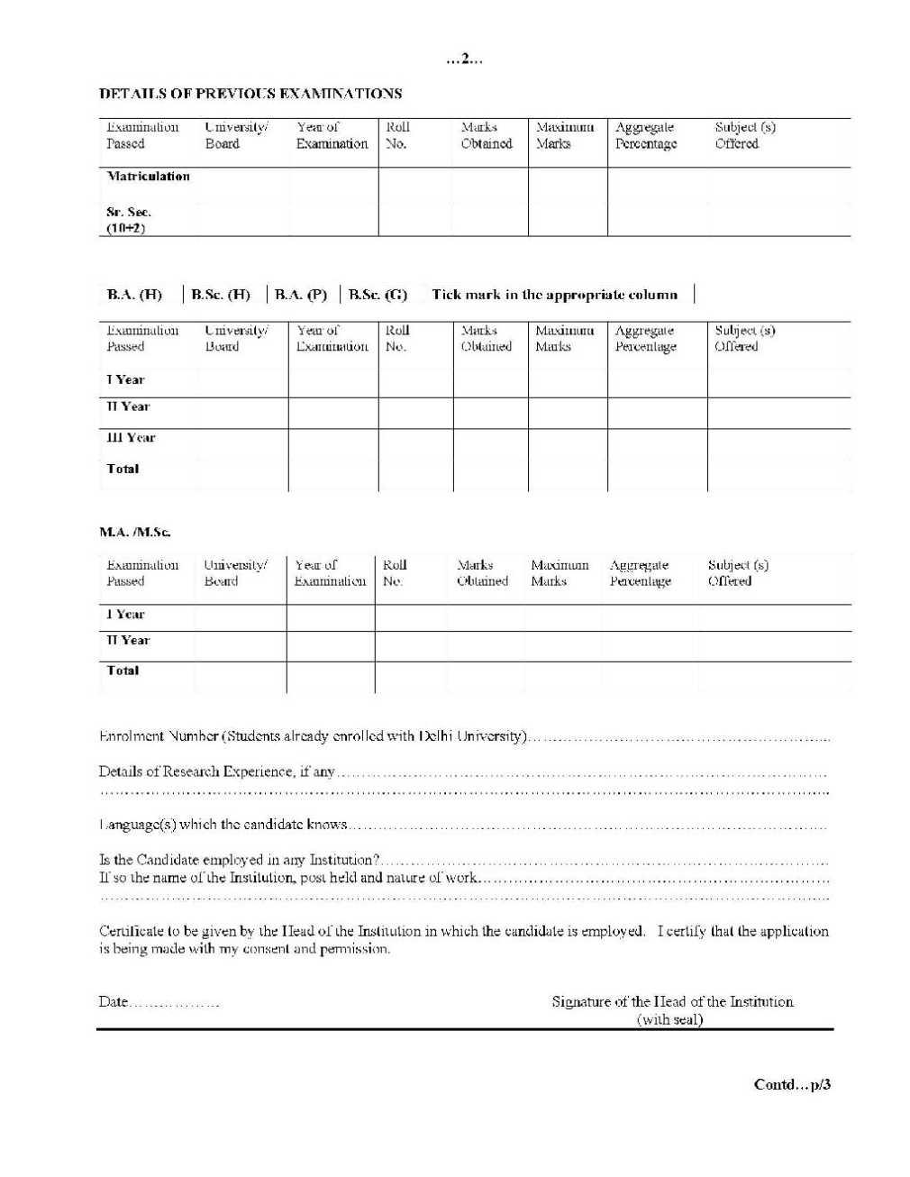 phil admission form of delhi university du mphil admission form