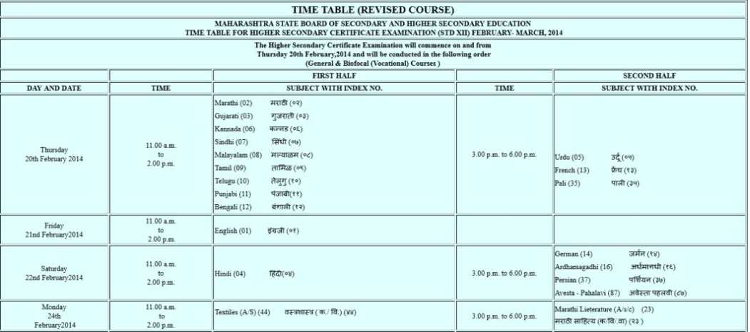 12th Commerce Time Table 2015 Hsc Class 12th Time Table