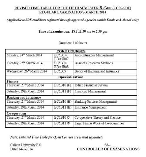 University of calicut exam timetable of bcom 2018 2019 for Bu time table 5th sem