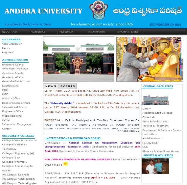 Andhra university study centres