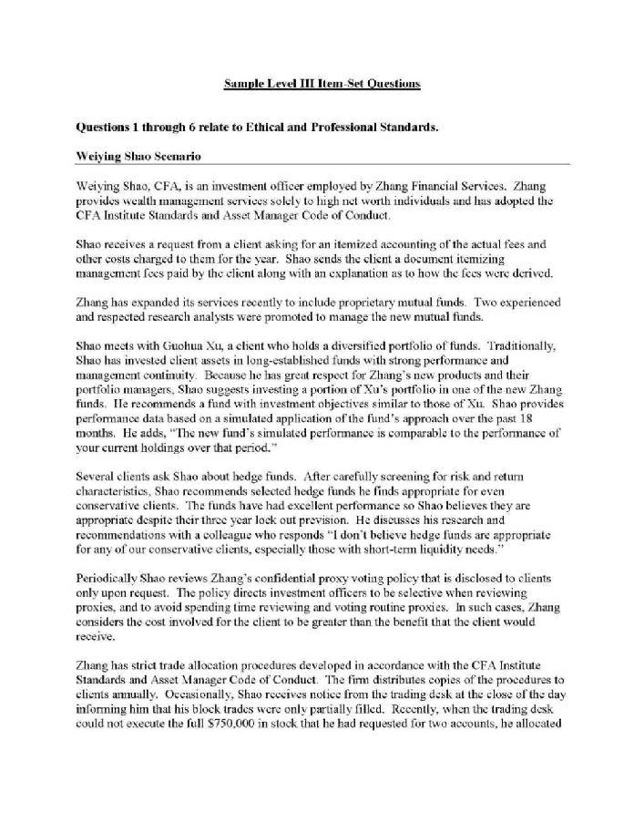 CFA Level III Exam Question Paper - 2018-2019 StudyChaCha