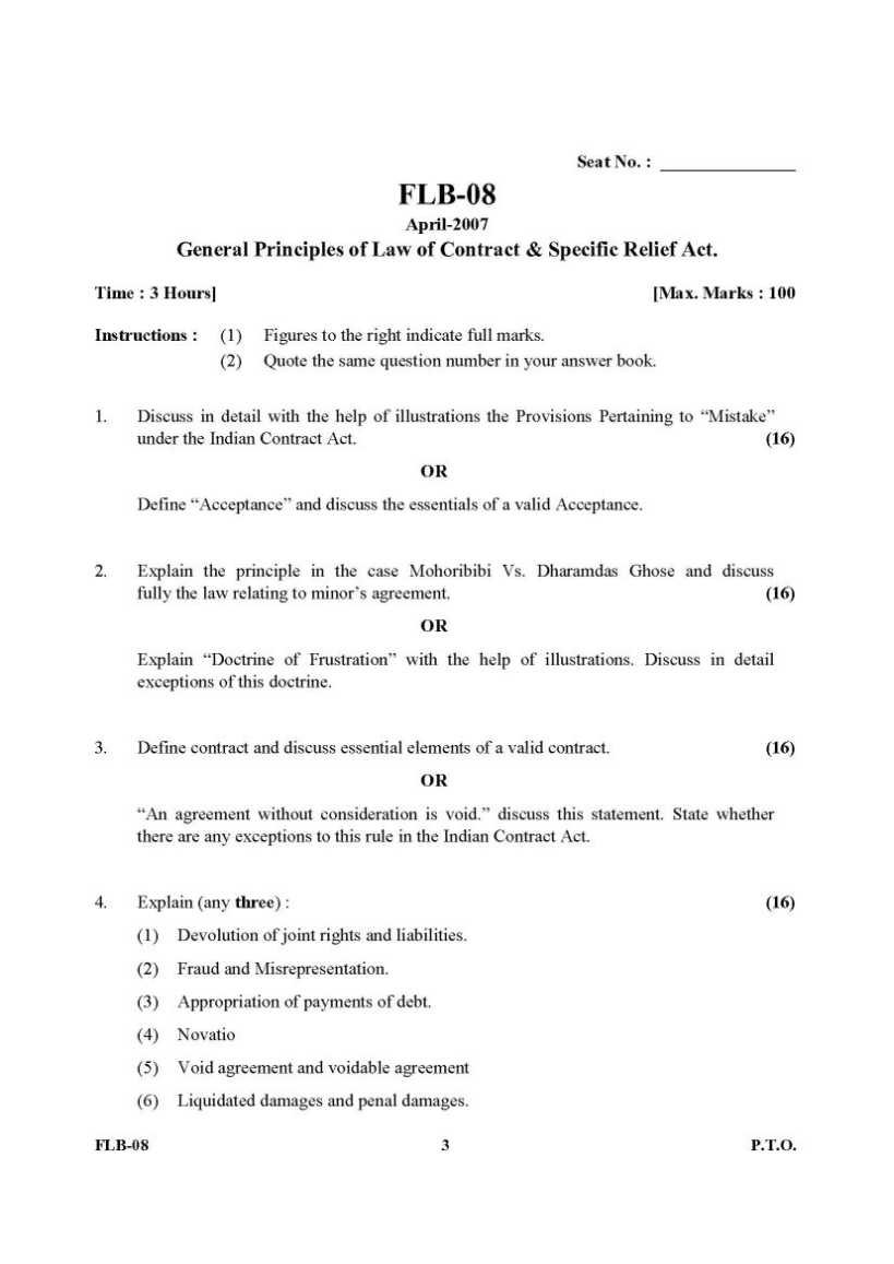 Gujarat university llb first year general principles of for B b contract