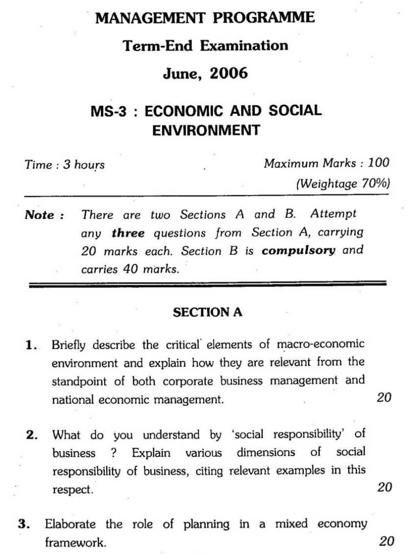 Ignou Mba Economic And Social Environment Previous Years Question