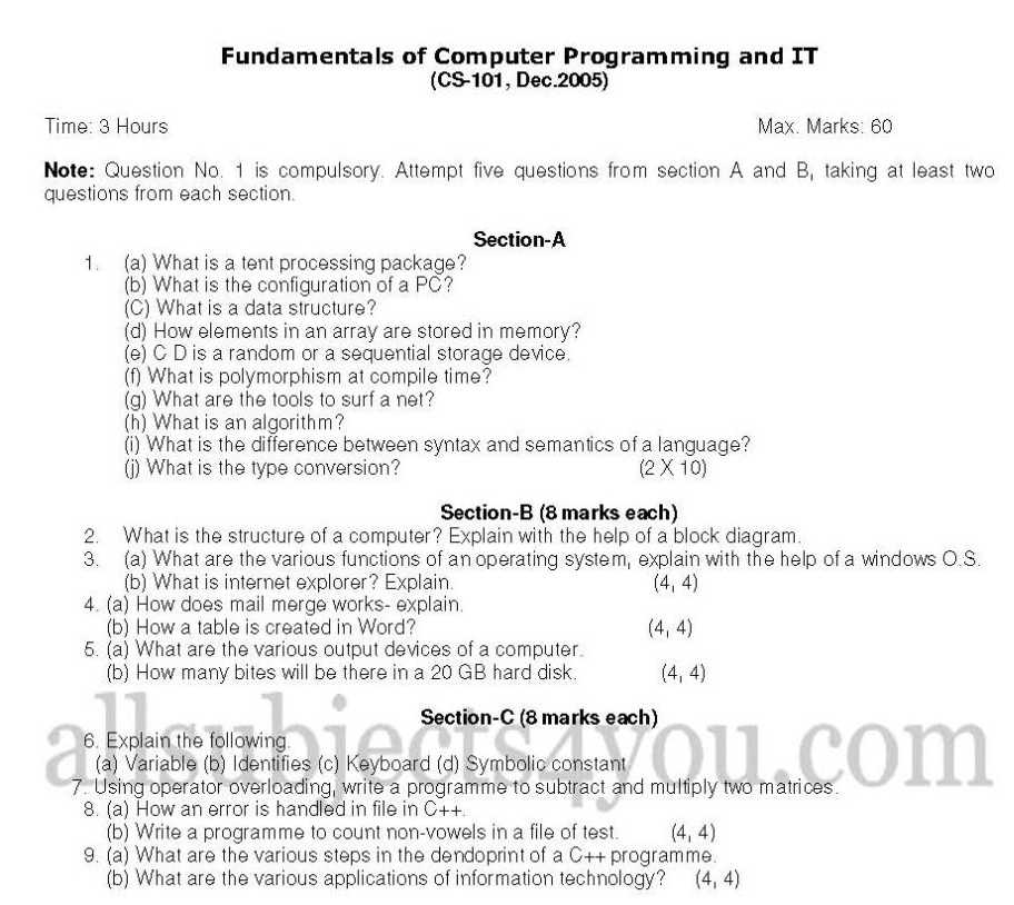 programming fundamentals paper Introduction to programming sample question paper note: qno 1 is compulsory, attempt one question from each unit q 1 a) what is an algorithm.