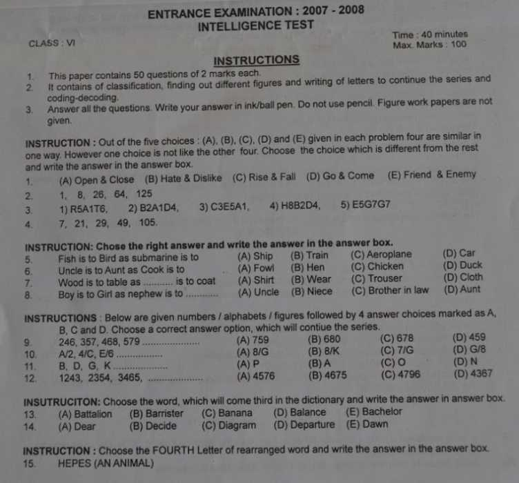 Sainik School VI standard entrance exam model question paper