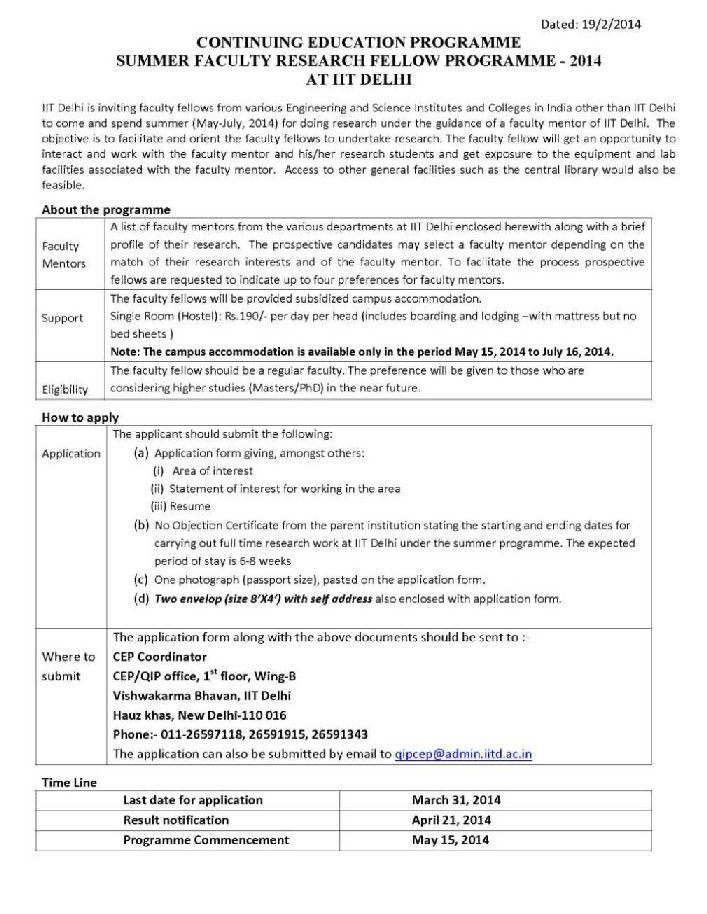 Summer internship in IIT Delhi procedure - 2018-2019 StudyChaCha