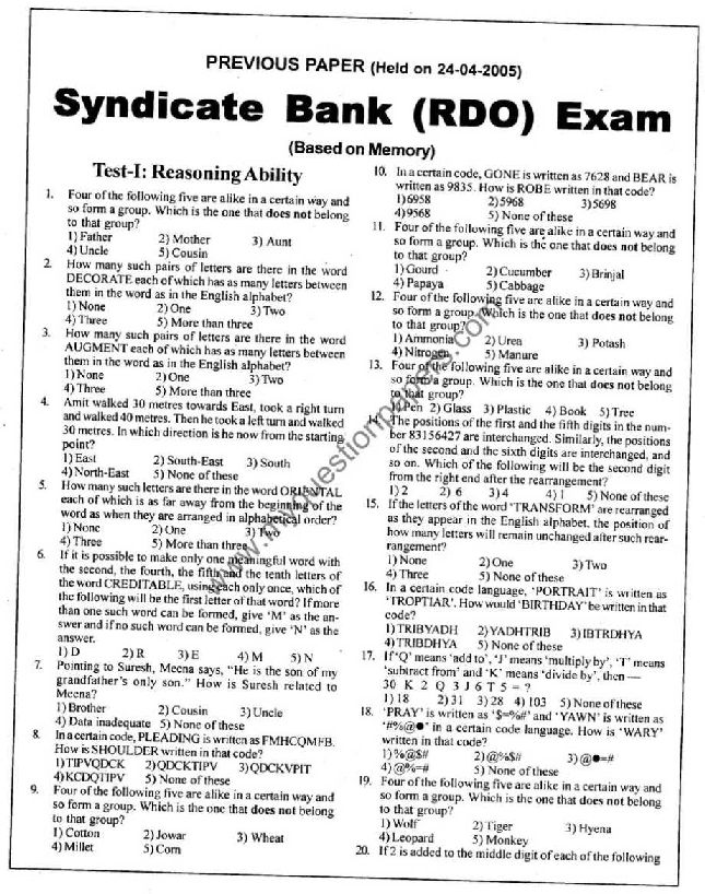 Syndicate Bank Po Question Papers Pdf