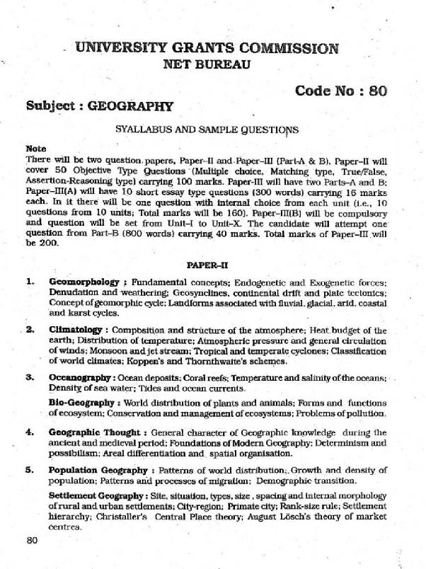University Grants Commission NET Geography syllabus - 2018