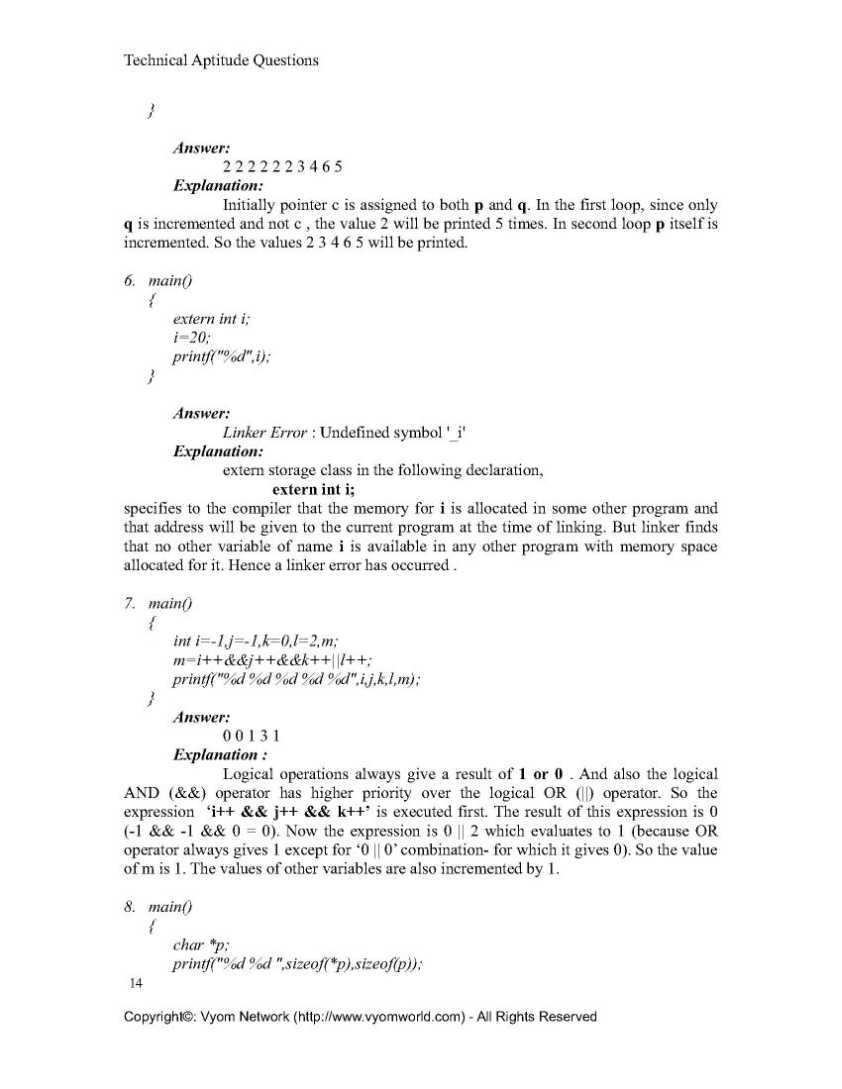 C Language Aptitude Test Paper - 2018-2019 StudyChaCha