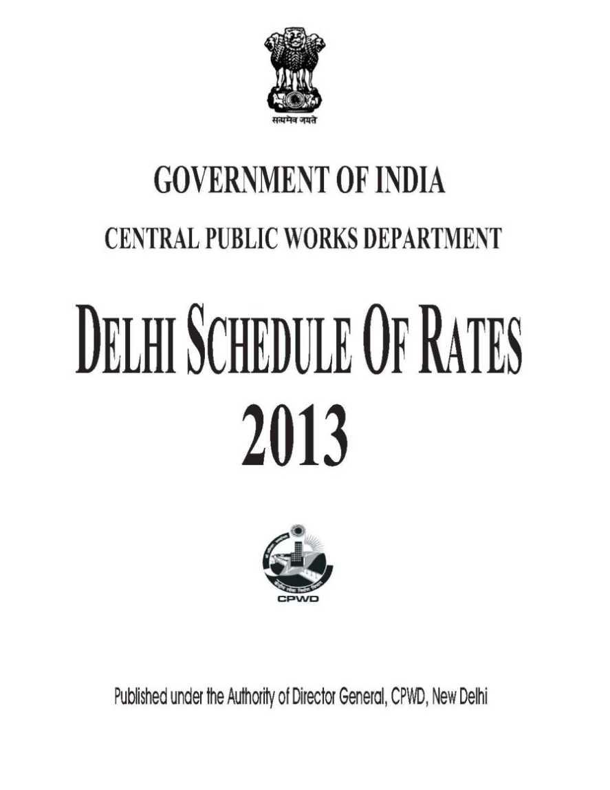 delhi schedule of rates 2017 civil pdf