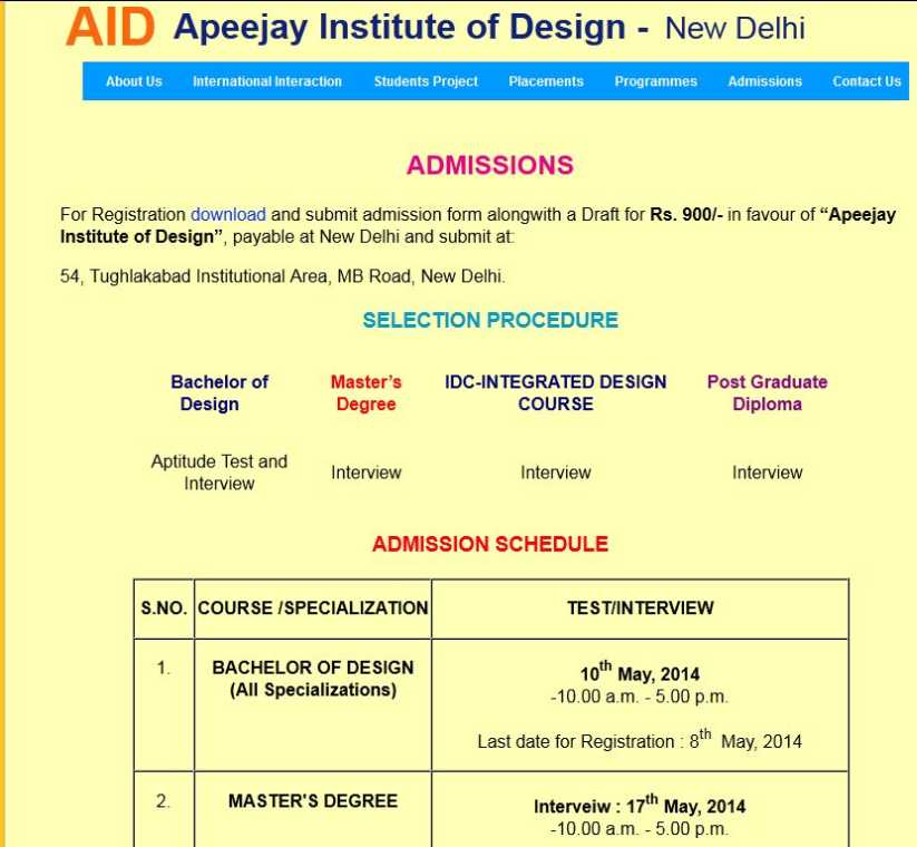 Fee Structure Of Apeejay Institute Of Design
