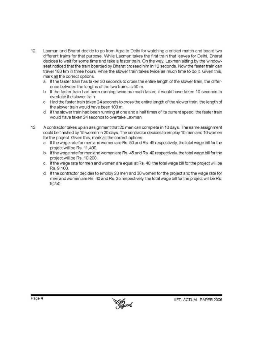 Sample paper of iift