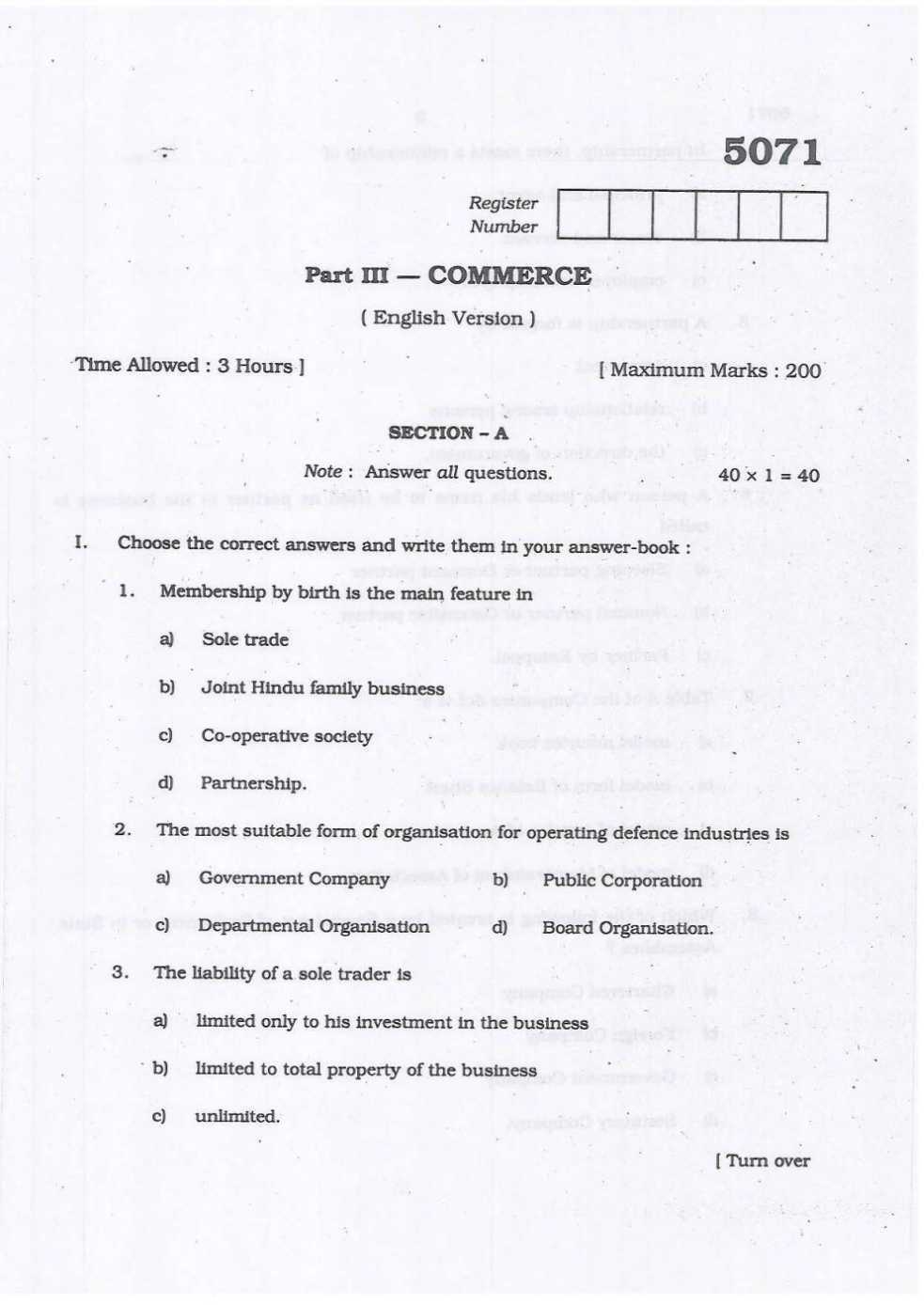 Tamil Nadu Board Higher Secondary Commerce previous years