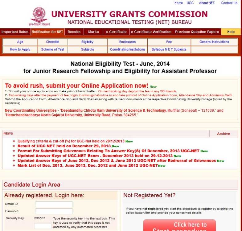 UGC Net Application Form 2014