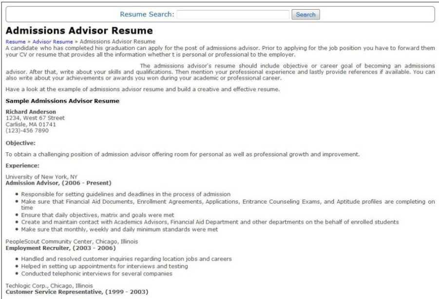 College admissions advisor resume