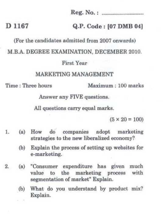Marketing management papers
