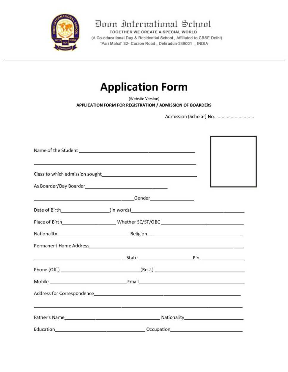 Admission Form For School Doon International School Dehradun Admission Form  20182019 .